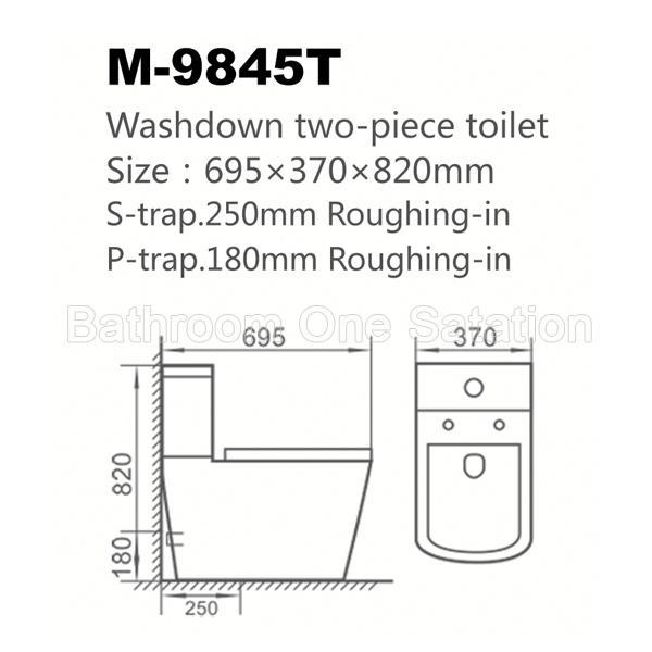 Big Size Ceramic Two Piece Wc Toilet 9845