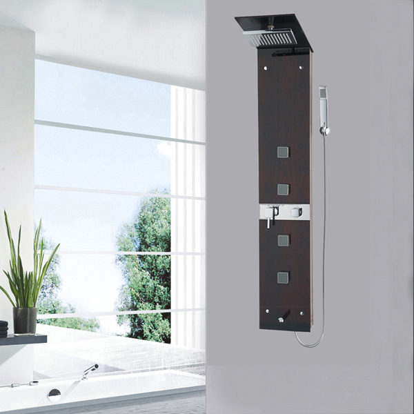 Wood glass shower panel SP-04